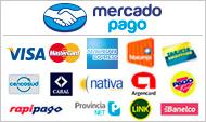 Podes pagar con todas las tarjetas, pago facil, rapipago y dinero mail.