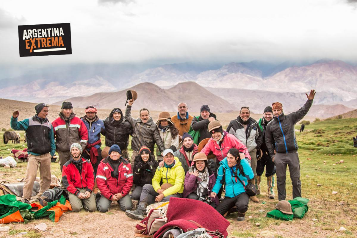 Grupo ArgentinaExtrema luego de completar el Cruce de los Andes Sanmartiniano