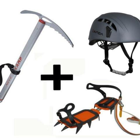 Combo Escalada II - casco, grampones y piqueta