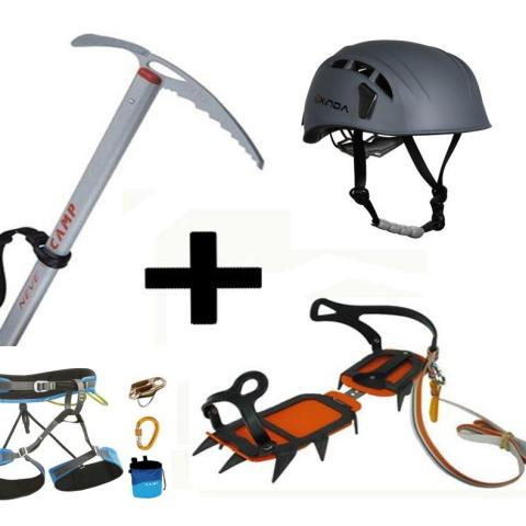 Combo Escalada I - casco, grampones, piqueta, arnés, mosquetones, placa, cintas, cordines