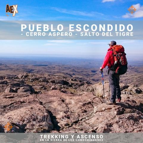 Trekking y ascenso en la Sierra de los Comechingones - Pueblo Escondido - Salto del Tigre, Merlo, San Luis
